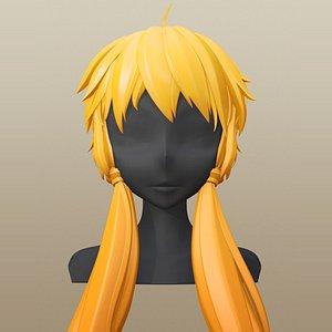 3D model hair character girl