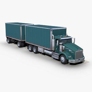 3D model t800 box truck trailer