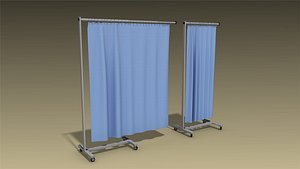 3D low-poly hospital curtain model