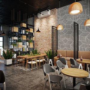 3D model restaurant cafe bistro