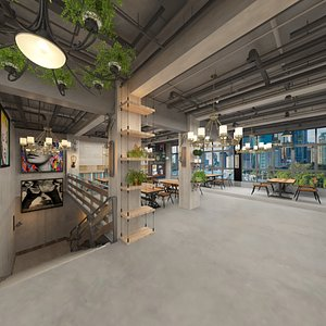Bar - Resturant Dining Hall - Second Floor 3D model