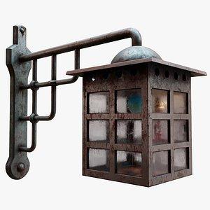 Antique Rusty Iron Entrance Lamp model