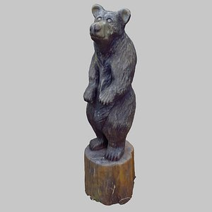3D model wood bear sculpture
