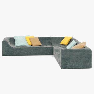 corner sofa, sectional sofa 3D model