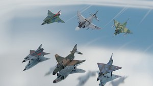 Cold War fighters lowpoly set A 3 x 2 3D model