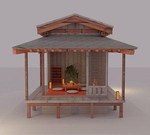 Japanese garden structures viewing pavilions Low-poly 3D model 3D model