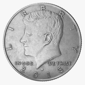 half dollar coin 3D model
