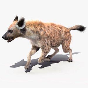 running pose fur hyena 3D model
