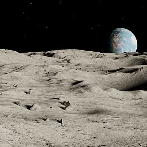 photorealistic moon landscape scene 3D model