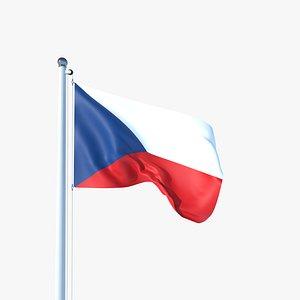 3D Animated Flag of Czech Republic model