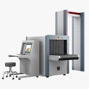 3D Airport Security Checkpoint PBR model
