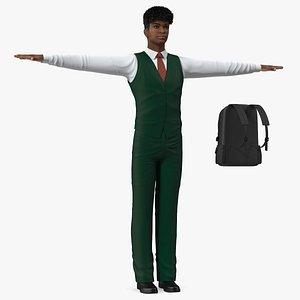 3D Black Teenager Light Skin School Uniform Neutral Pose model