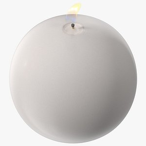 3D Lit Spherical Candle White