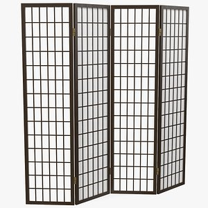 3D Four Panel Folding Screen