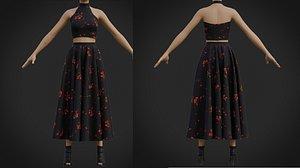 two piece halter neck prom dress 3D model
