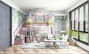 Bedroom postmodern bedroom contracted bedroom model room children room recreation room girl heart 3D model