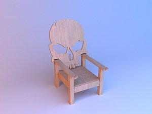 Skull wood chair 3D model 3D model
