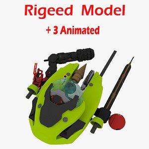 Triton Submarine Rigged 3D