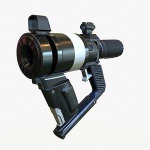 Low Poly Sci-Fi  Revolver PBR model