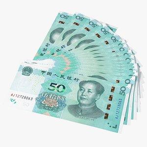 Chinese 50 Yuan 2019 Banknotes Fan 3D model