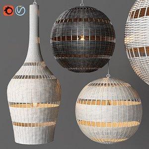 3D montauk rattan lamps restoration model