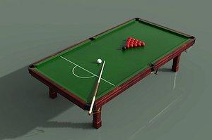 3D model Billiards table billiards cue billiards frame snooker rock billiards table international billiards