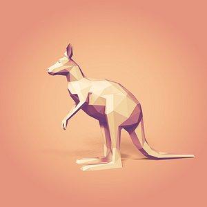 3D Low Poly Cartoon Kangaroo
