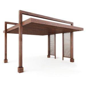 The L A Modern Pergola - Forever Redwood 3D model