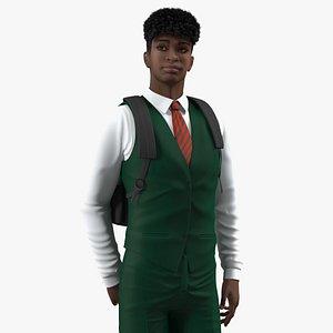 3D Black Teenager Dark Skin School Uniform Rigged for Modo