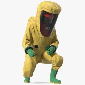 3D Heavy Duty Chemical Protective Suit Squat Pose Yellow model