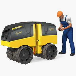 Construction Worker with Trench Roller Bomag BMP8500 Rigged 3D model