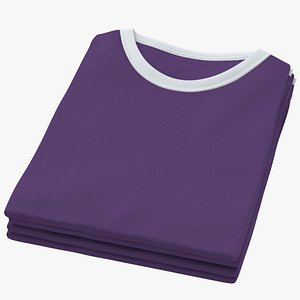 Female Crew Neck Folded Stacked White and Purple 02 3D