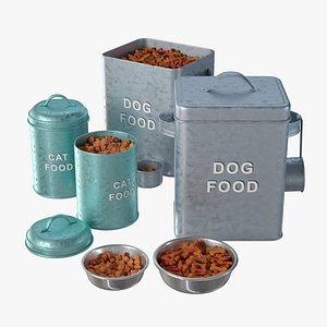 3D Pet food tins set