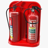 Double Fire Extinguisher Fiberglass Stand Set
