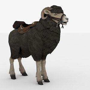 3D Black Goat Rigged