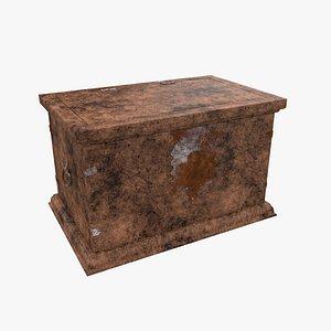 antique wood chest 3D model