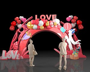 3D wedding balloon lobby flower wall green plants gardening party stage