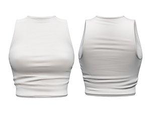 sleeveless white crop 3D