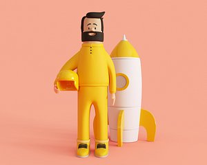 Cartoon Cosmonaut model