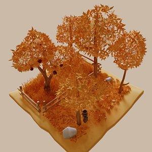 3D pack autumn trees grass
