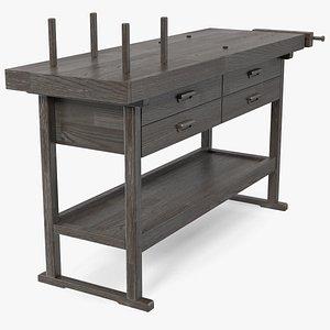 Wooden Carpenter Workbench 3D model