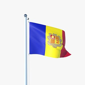 Animated Flag of Andorra 3D model