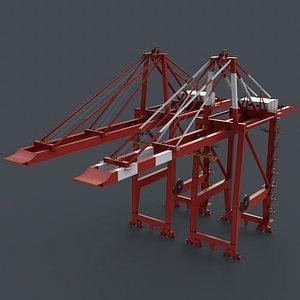 PBR Quayside Container Crane V2 - Red 3D