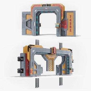 3D Sci Fi Sliding Blast Doors Rigged Collection