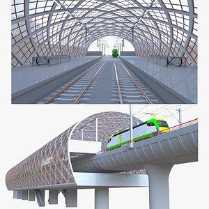 3D Railway station with locomotive model