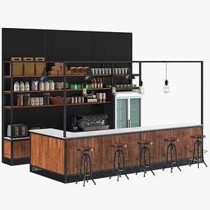 3D real industrial bar counter model