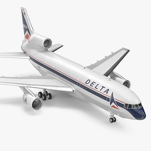 3D Delta Air Lines Lockheed L1011 TriStar Rigged