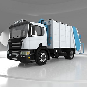 3D Cylinder System Garbage Truck model