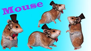 house mouse fur hair 3D model