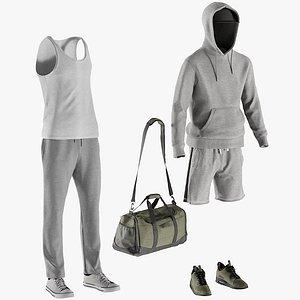 shorts hoodie sneakers tshirt 3D model